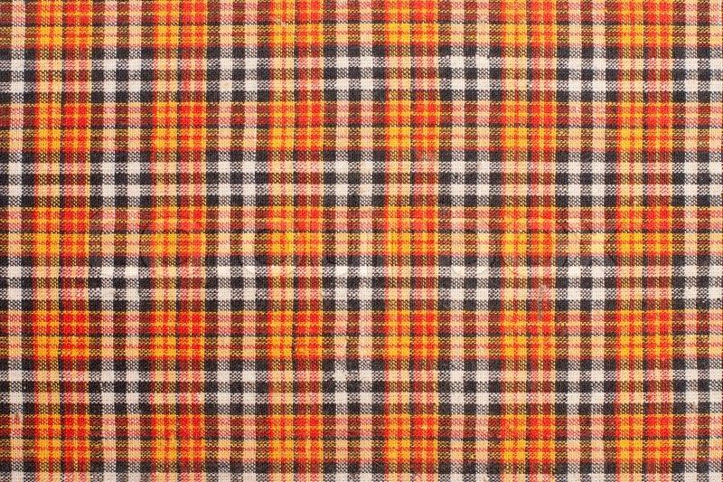 Plaid Fabric Red Orange Black White Background Stock