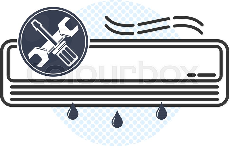 Air Conditioning Maintenance And Repair Symbol For Business Vector