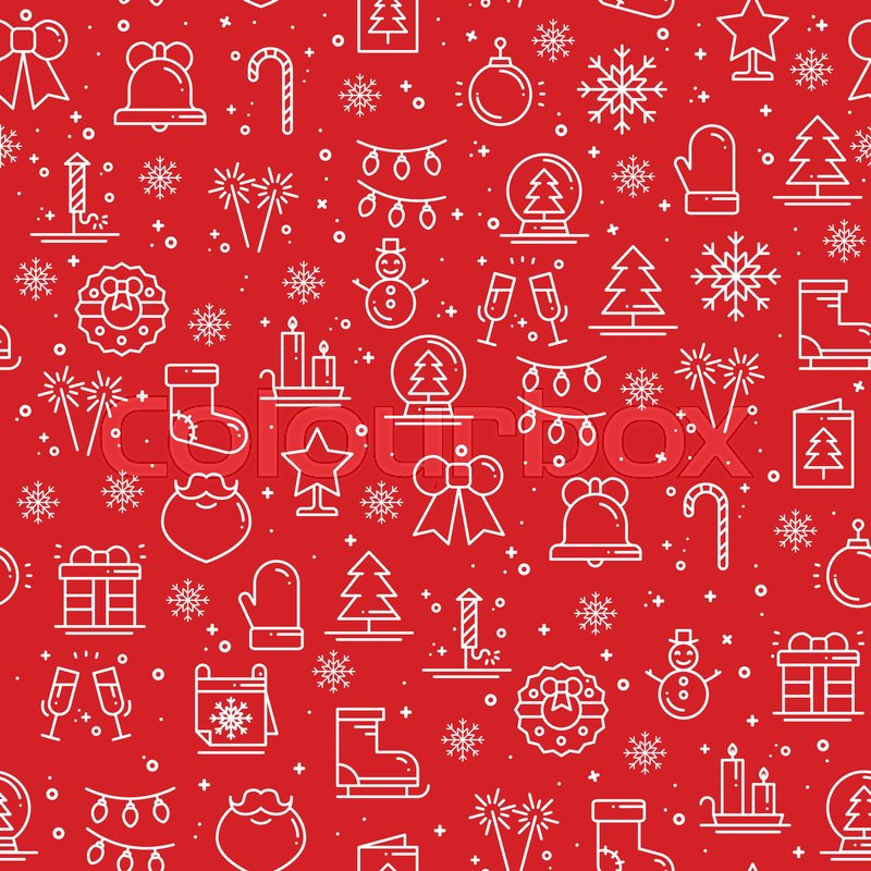 Merry Christmas Party Celebration Seamless Pattern Xmas New Year Holidays Decor Elements Thin Icons Vector Illustration Line Background Texture