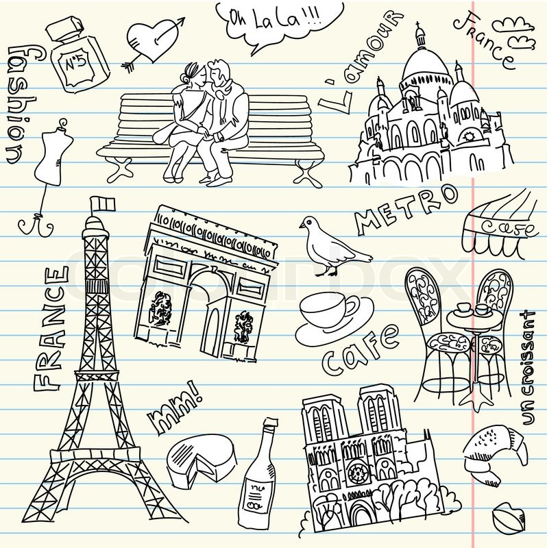 Love in paris doodles stock vector colourbox for Love doodles to draw