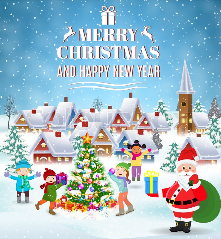 happy new year and merry christmas greeting card winter fun kids decorating a christmas tree winter holidays illustration raster version stock photo - Fun Things To Do On Christmas Eve
