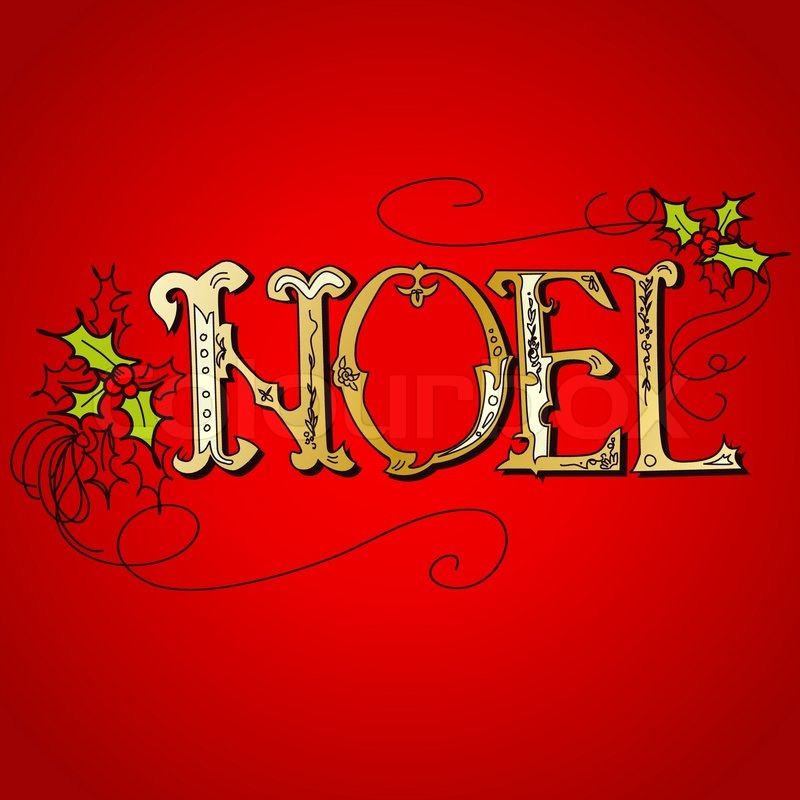 Vintage Christmas Card Noel Lettering Stock Vector Colourbox