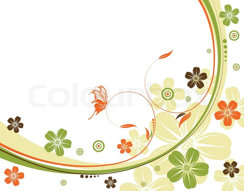 Flower Background With Wave Pattern Element For Design