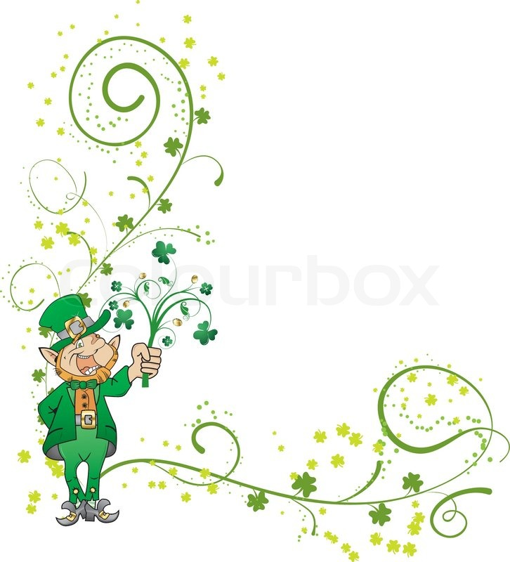 Patrick 39 s day corner with clover and leprechaun stock for Irish mail cart plans