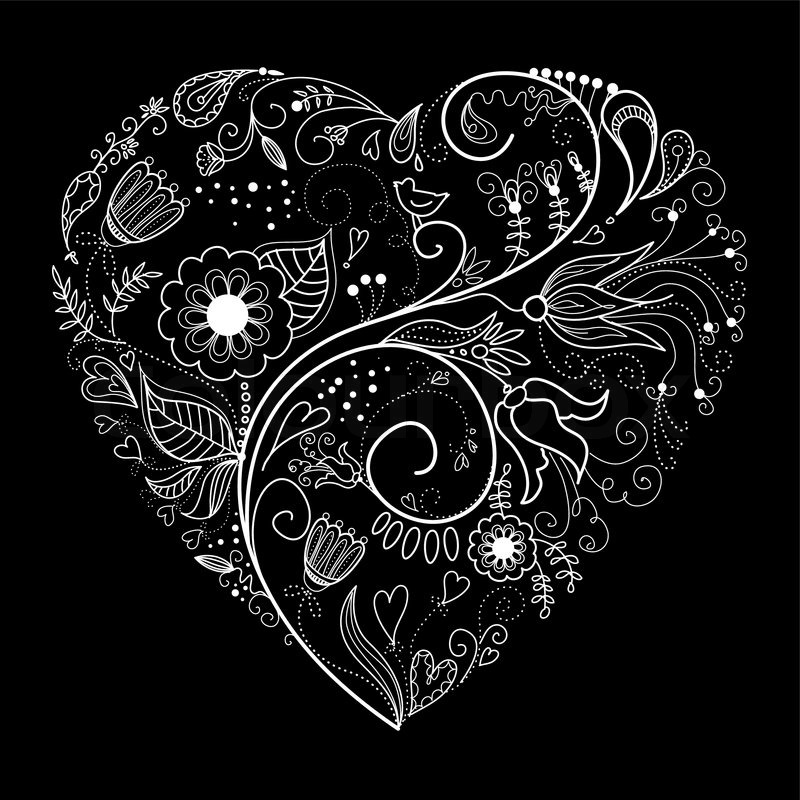 Black And White Valentine Heart Illustration  Stock -8909