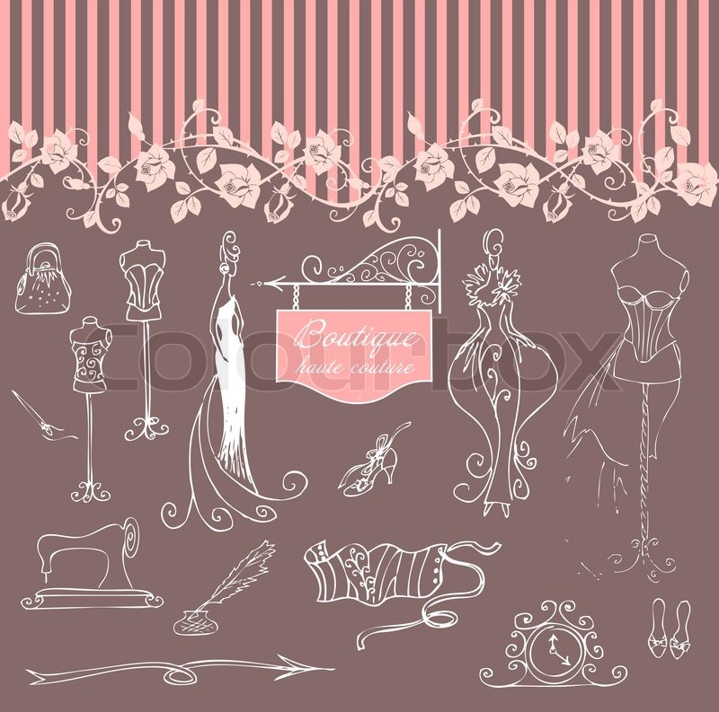 Boutique haute couture and dressmaking stock vector for Haute couture boutique