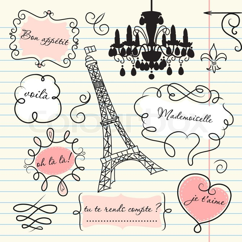 Doodle Frames In French Style Stock Vector Colourbox