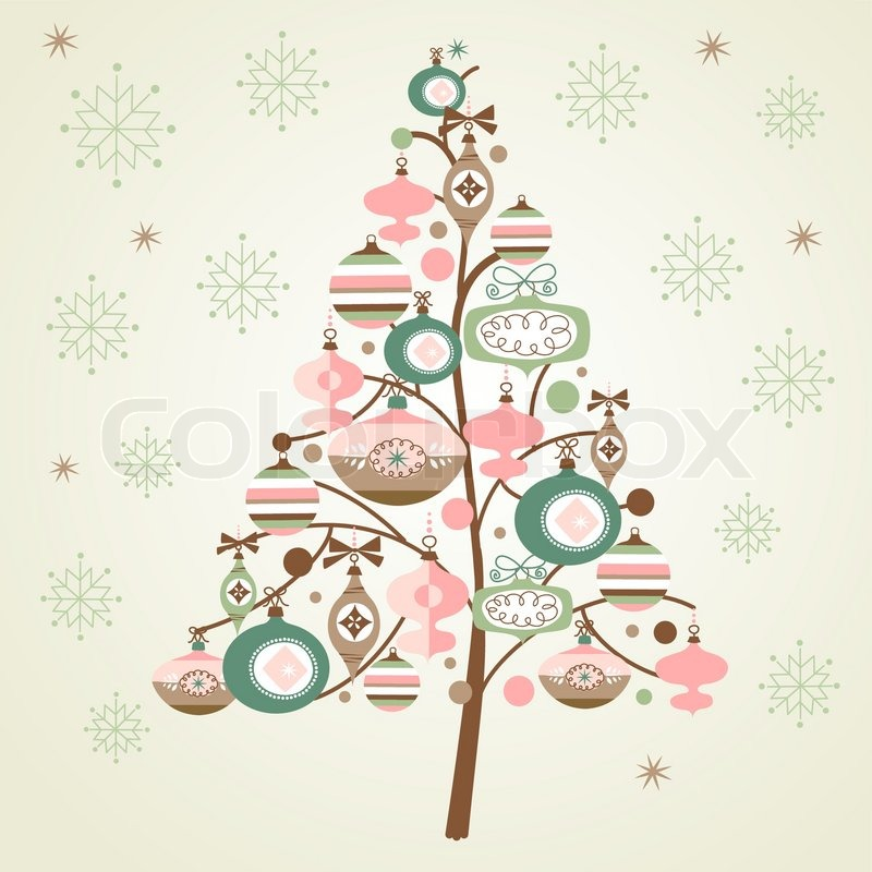 Superb Cute Christmas Tree And Snowflakes, Vector