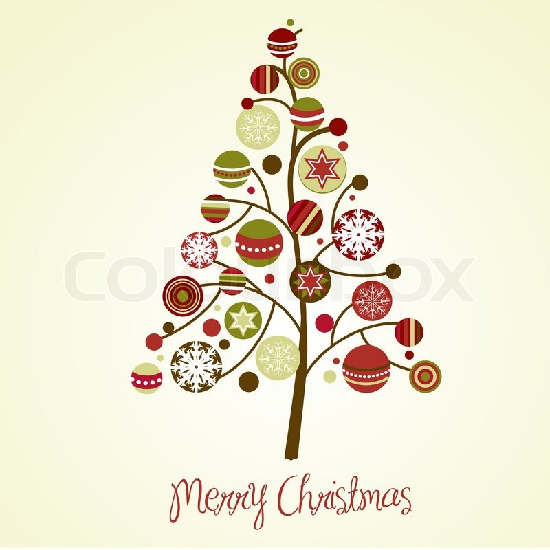 beautiful christmas tree illustration christmas card stock vector colourbox - Christmas Tree Card