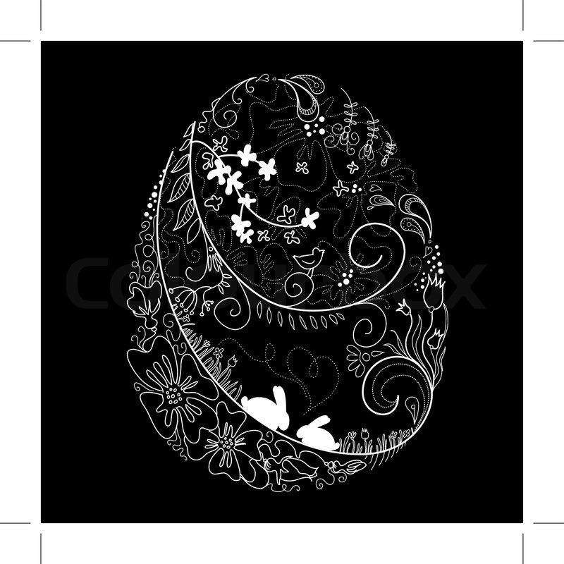 Black And White Easter Egg Stock Vector Colourbox