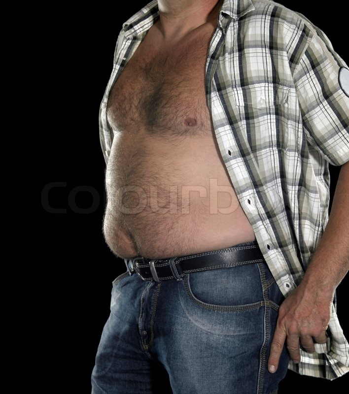 Man with big , fat beer belly , holding a glass of stout   Stock ...