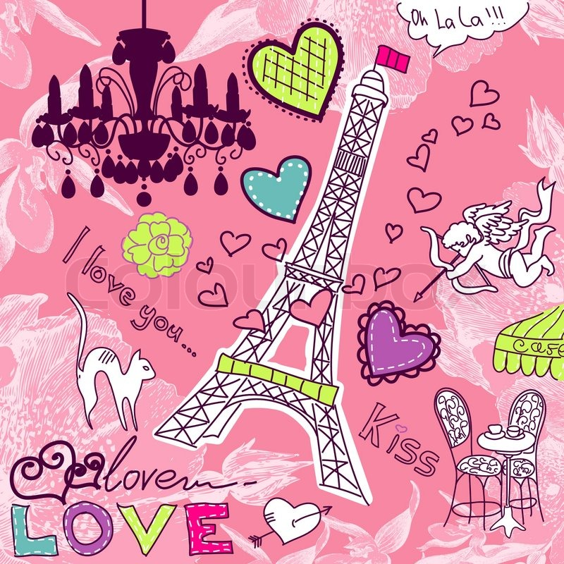 Wallpaper Love Paris cartoon : LOVE in Paris doodles Vector colourbox