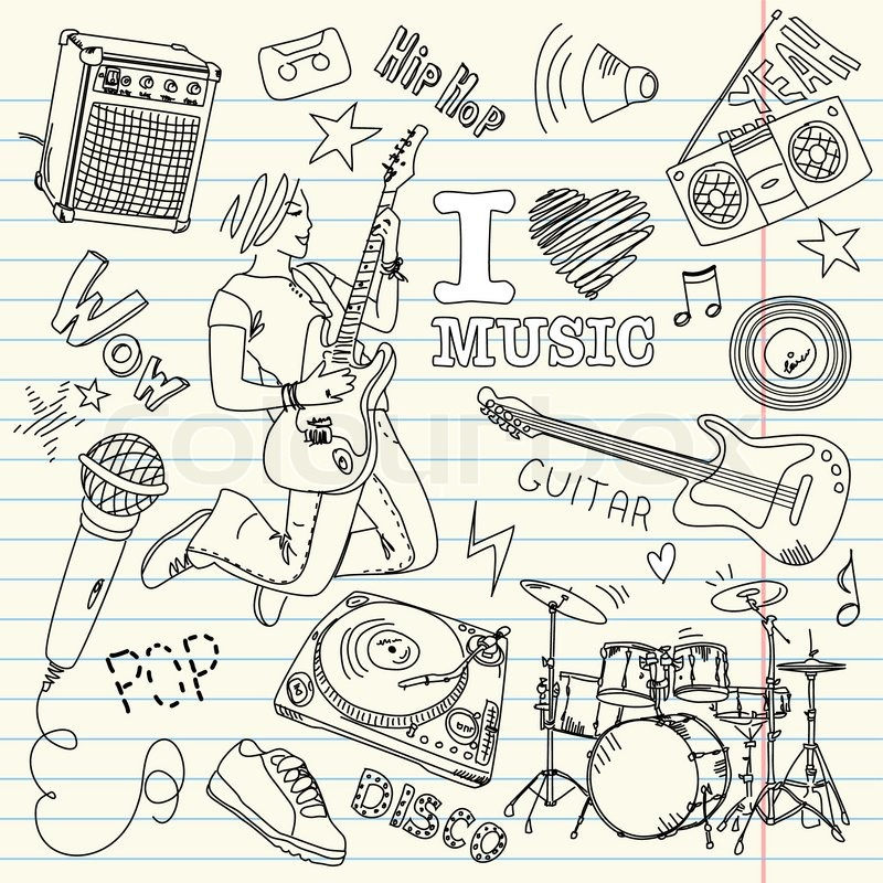 cool music doodles stock vector colourbox cowbell clip art black and white cowbell clip art free