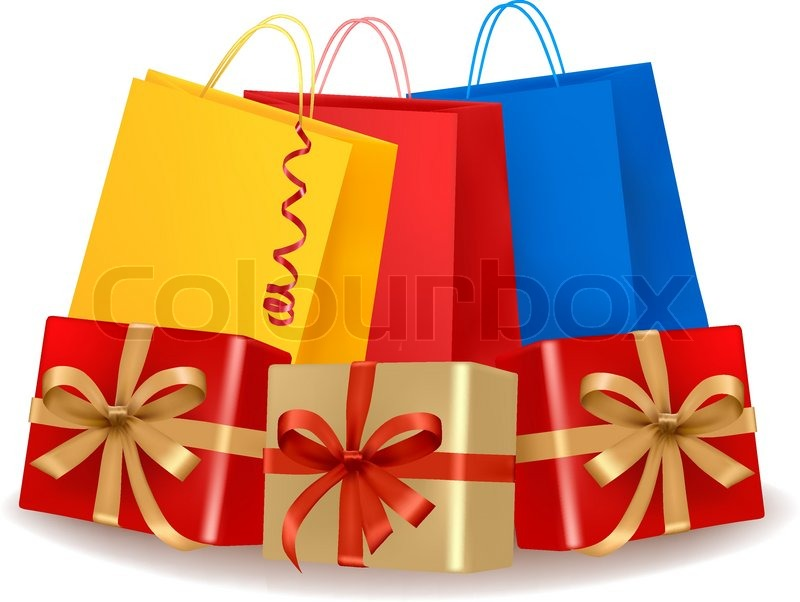 Collection of holiday shopping bags and gift boxes. Concept of ...