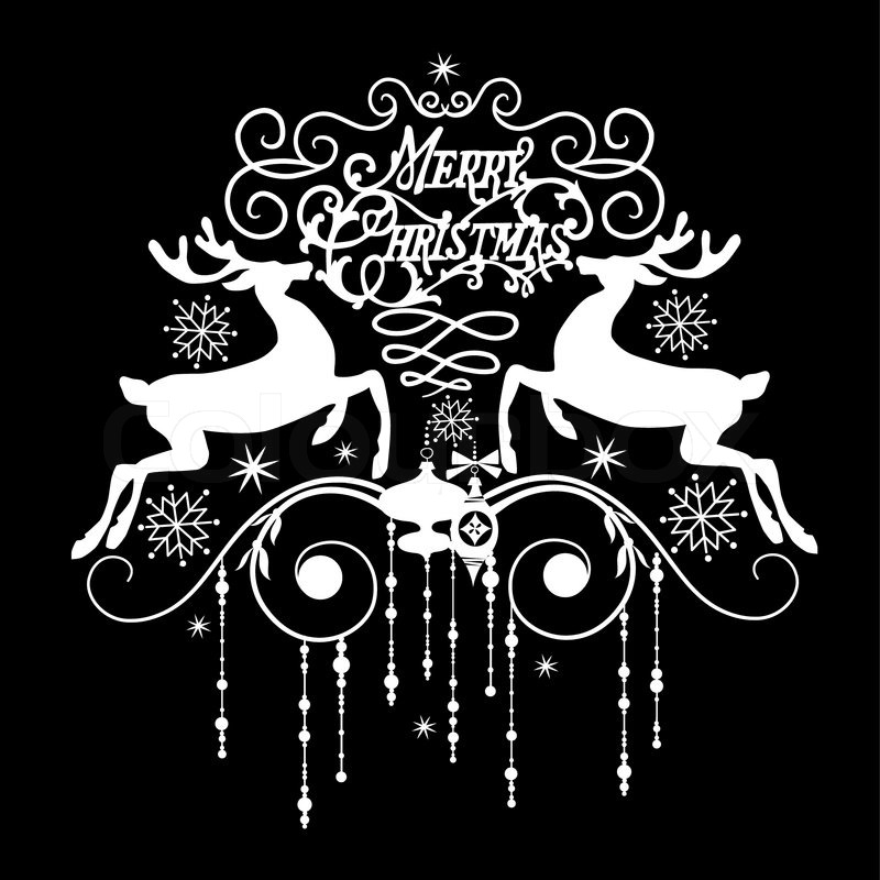 Black and White Christmas Card   Stock Vector   Colourbox  Black and White...