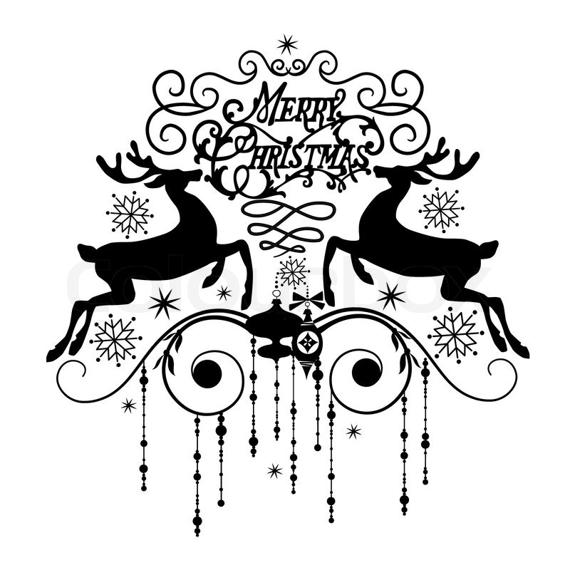 Black And White Christmas Card Vector Colourbox