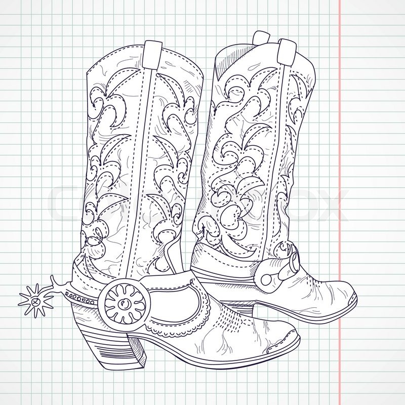 Hand Drawn Sketch Of A Cowboy Boots Stock Vector Colourbox