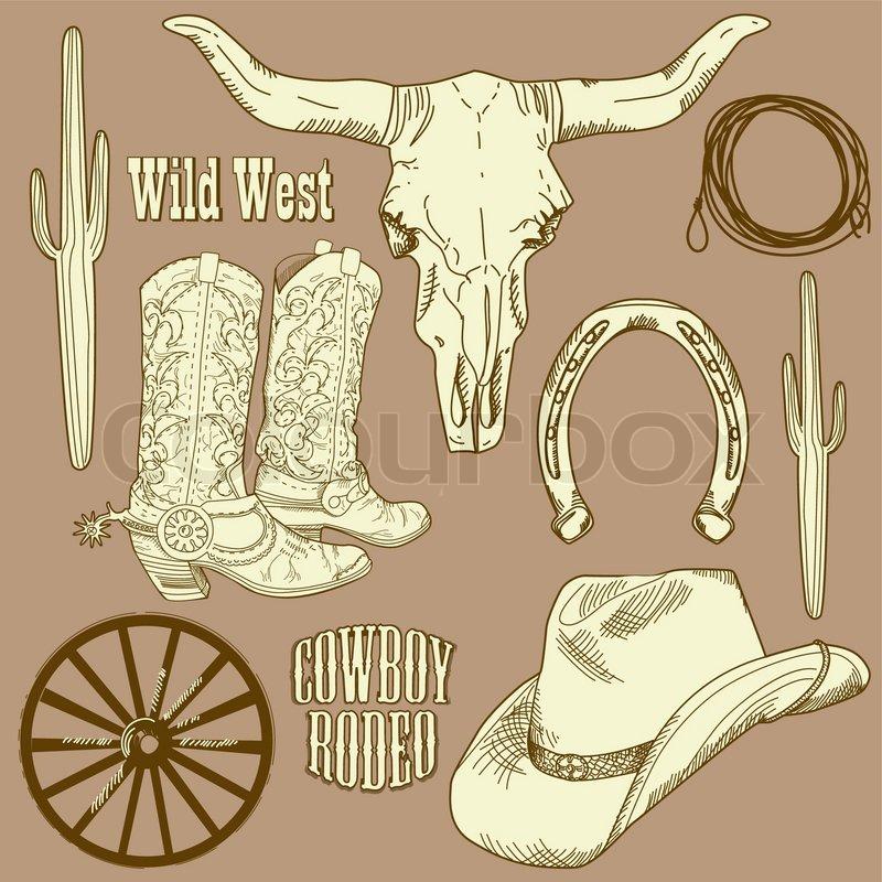 wild west western set stock vector colourbox