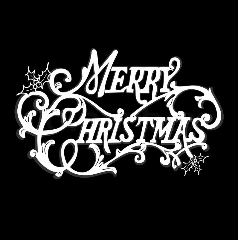 Black And White Christmas Card Merry Lettering