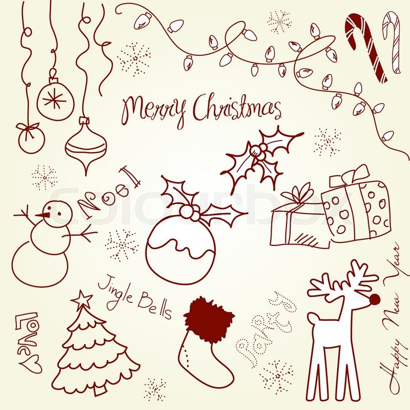 Cute Christmas and doodles Stock