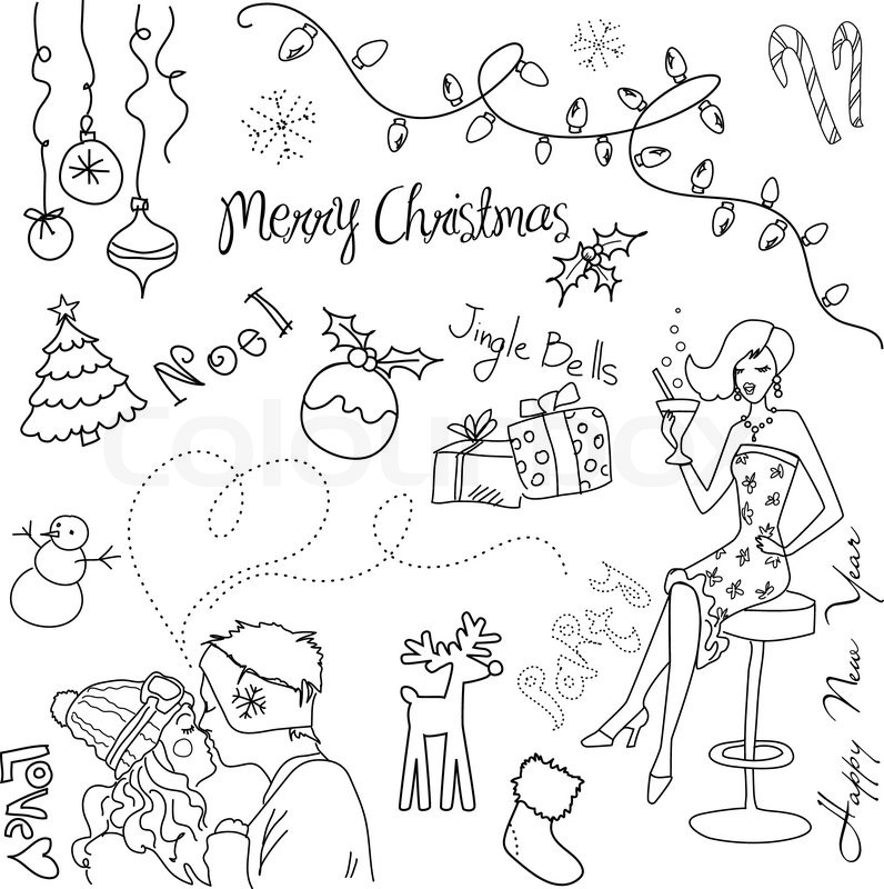 cute christmas and new year hand drawn doodles stock