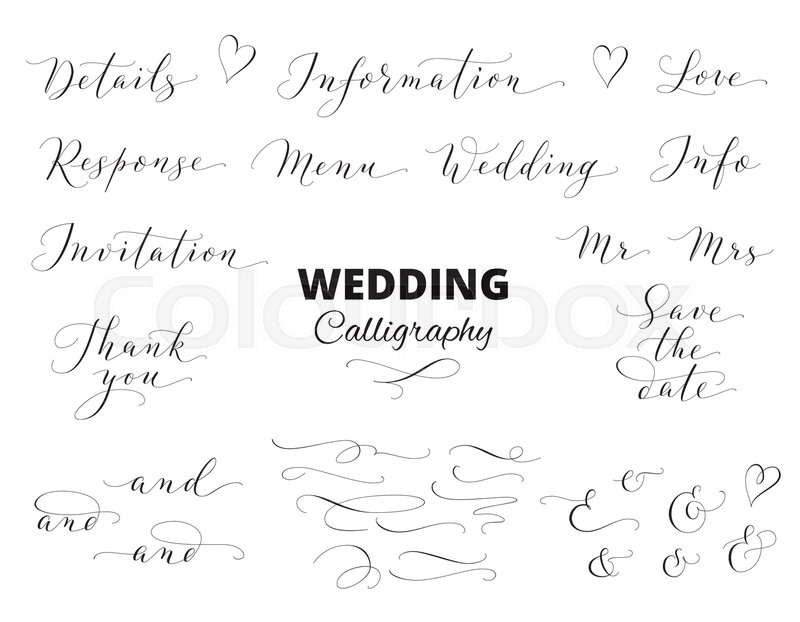 save the date love thank you menu words ampersands and catchwords great for wedding invitations cards photo overlays stock vector colourbox