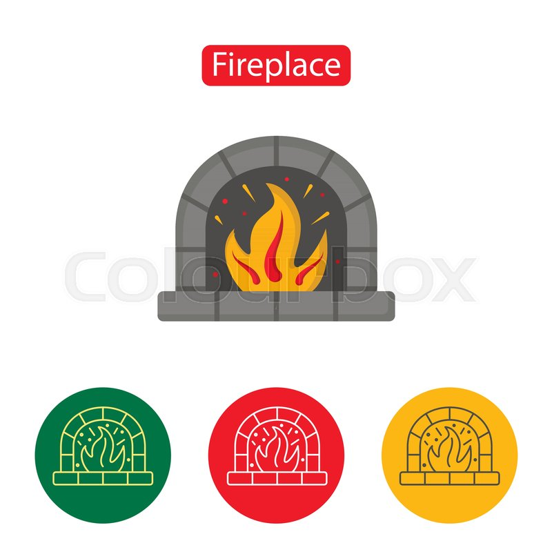 41f8df577ee44 Fireplace Icon. Christmas decoration icon or logo in modern line style.  Outline pictogram for web site design and mobile apps.