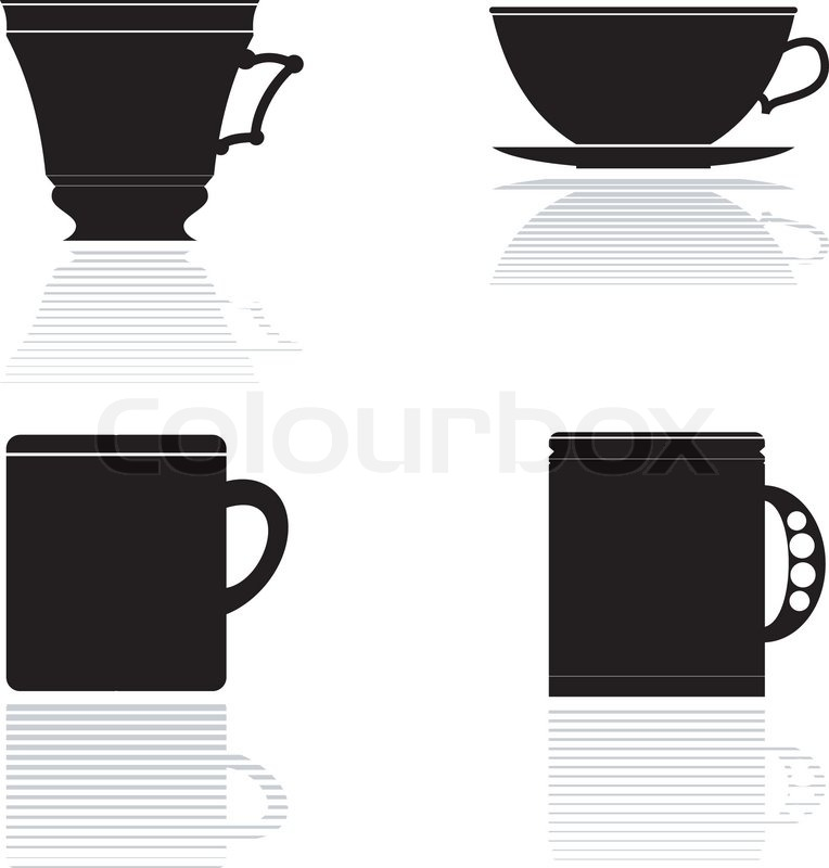 Stock vector of 'Set of vector silhouettes of tea cups'
