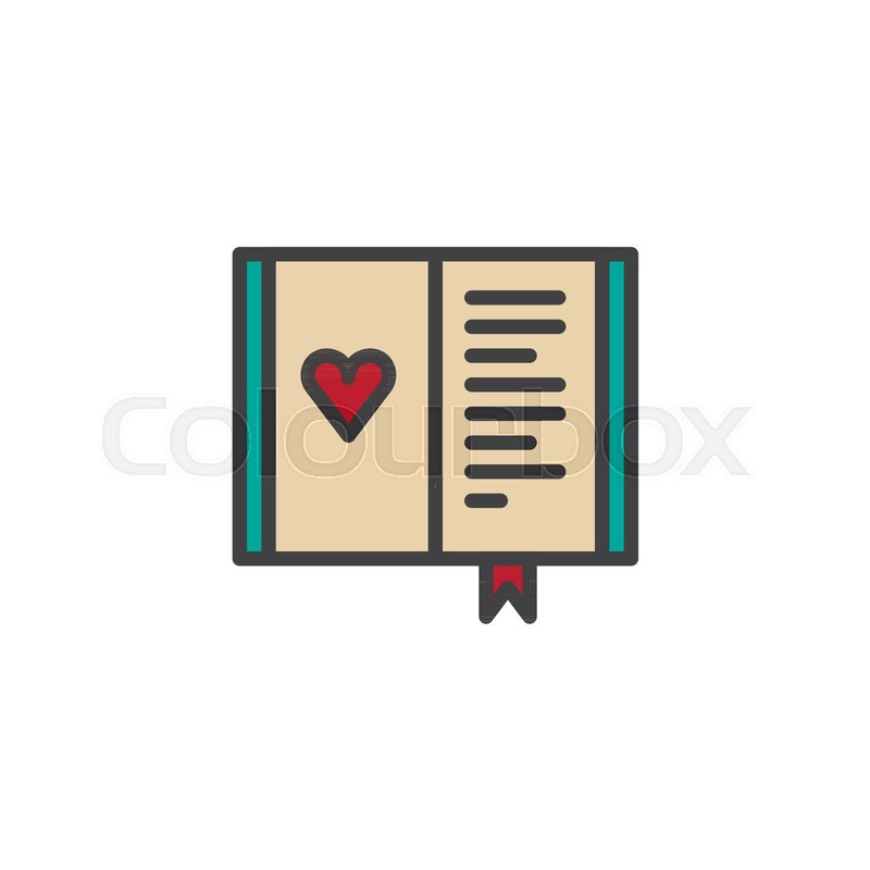 Diary With Heart Filled Outline Icon Line Vector Sign Linear