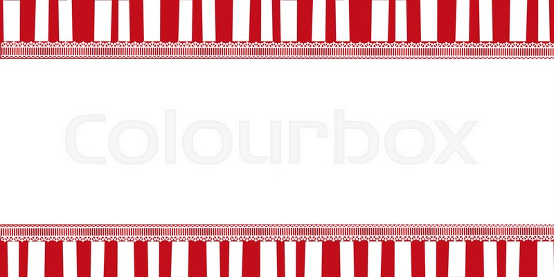 Christmas striped template with copy space framed with lace. Red and ...
