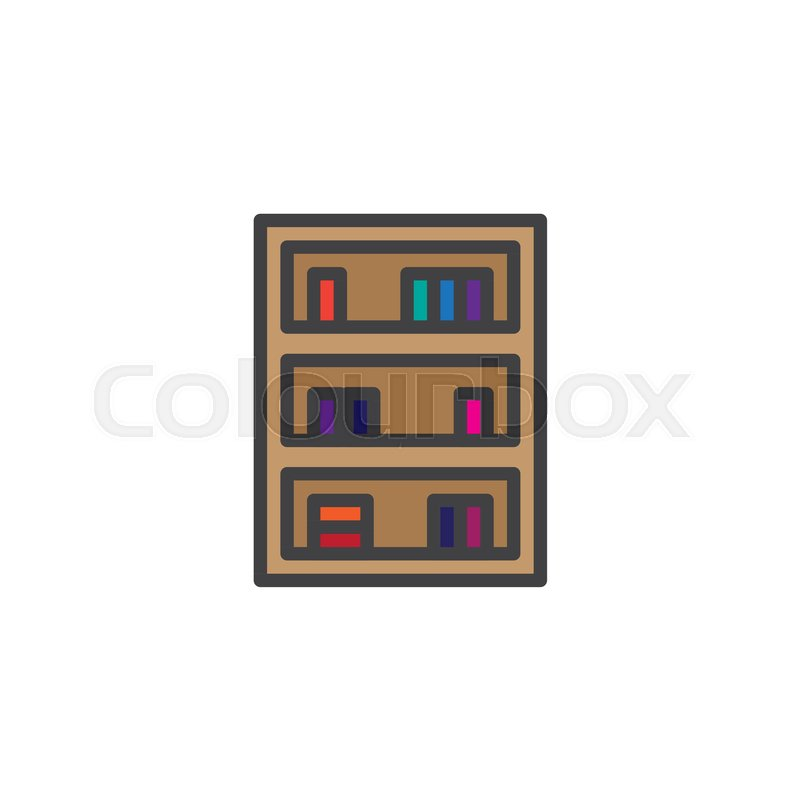 Bookcase Furniture Filled Outline Icon Line Vector Sign Linear Colorful Pictogram Isolated On White Bookshelf Symbol Logo Illustration Pixel Perfect