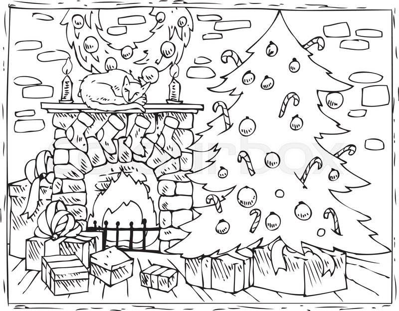 Coloring Book Page Christmas Composition With Christmas Tree