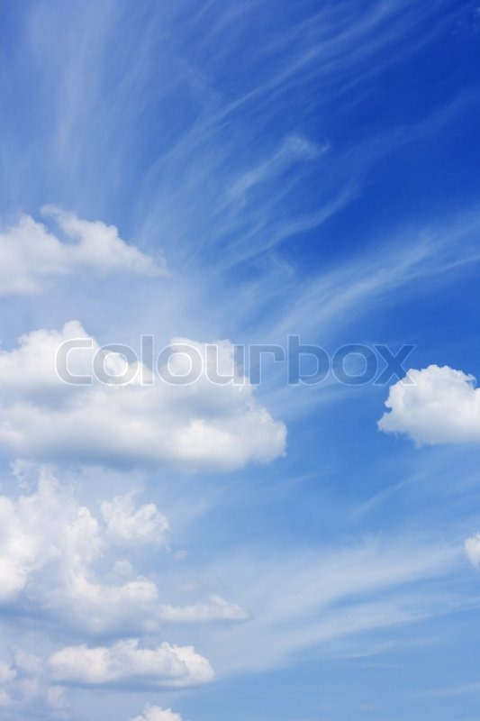 Peaceful Beautiful Blue Sky With White Clouds Heaven