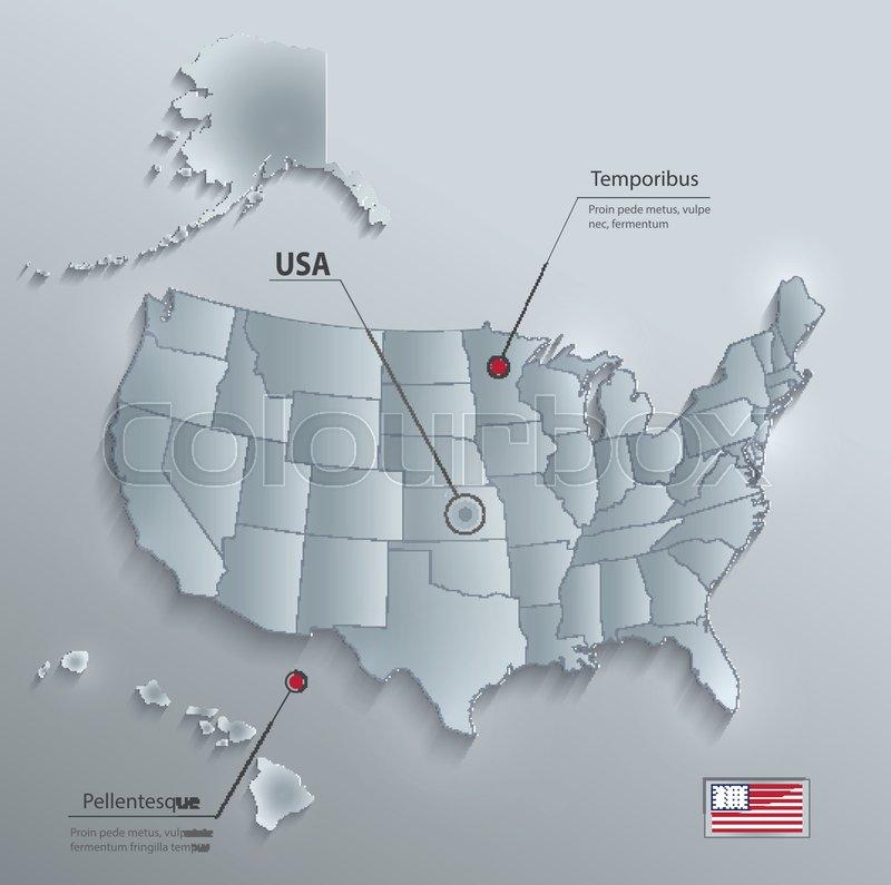 USA map with Alaska and Hawaii, ... | Stock Vector | Colourbox