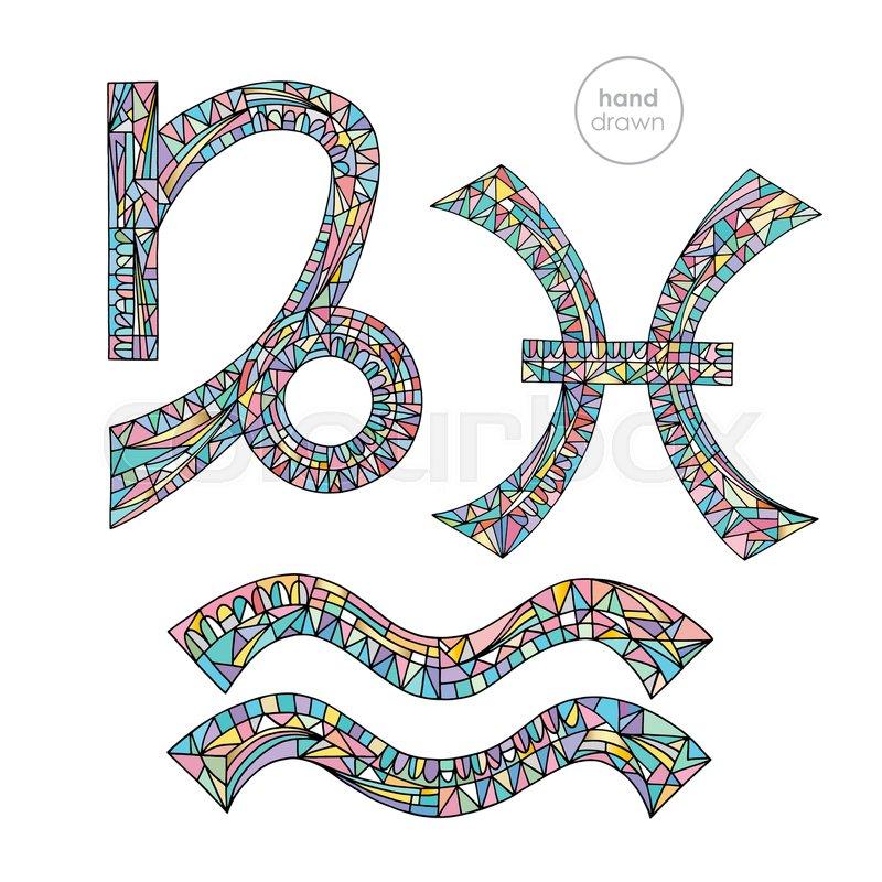 Zodiac Signs Set Capricorn Aquarius Pisces Horoscope Pastel