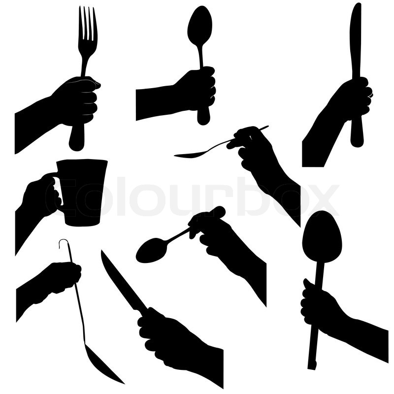 Hands Hold Kitchen Tools Cooking Stock Vector