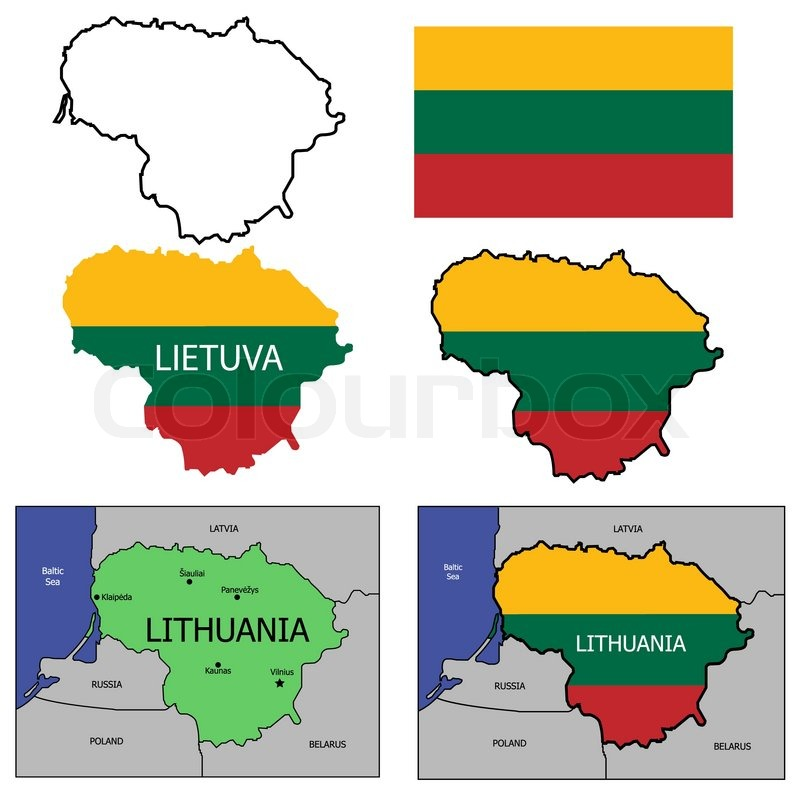 Lithuania Country Map With Borders Contours National