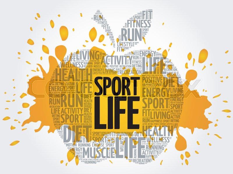 Sport Life apple word cloud, health     | Stock vector