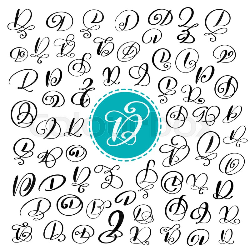 Set Of Hand Drawn Vector Calligraphy Letter D Script Font Isolated Letters Written With Ink Handwritten Brush Style Lettering For Logos Packaging