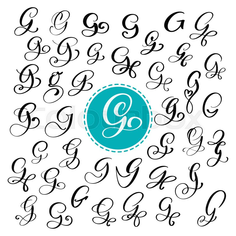Set Of Hand Drawn Vector Calligraphy Letter G Script Font Isolated Letters Written With Ink Handwritten Brush Style Lettering For Logos Packaging