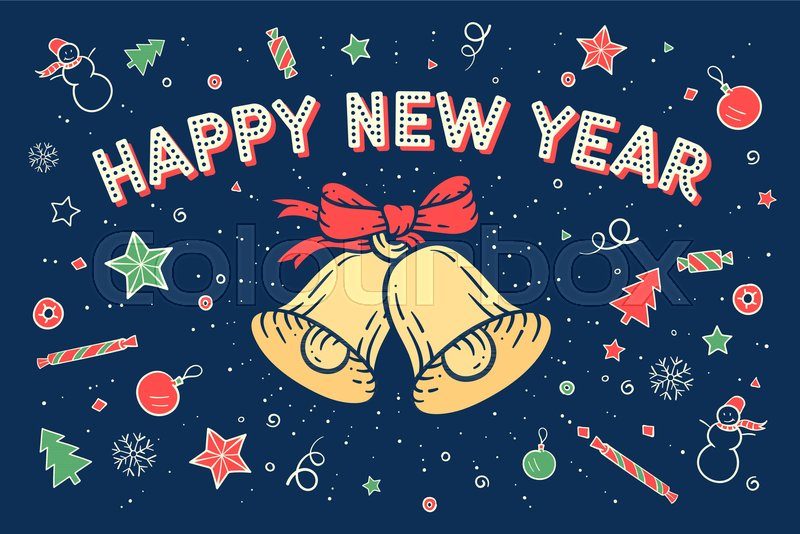 Happy new year greeting card with bell and text happy new year with happy new year greeting card with bell and text happy new year with starburst on happy pattern background christmas theme for banner poster post card m4hsunfo