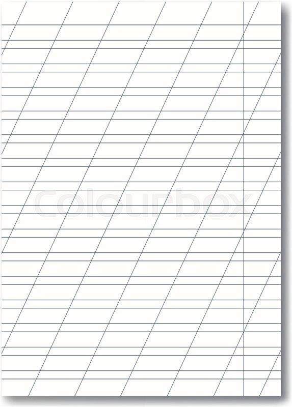 vector opened realistic school cursive writing worksheet