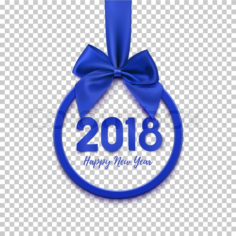 happy new year 2018 round banner with blue ribbon and bow christmas tree decoration greeting card template vector illustration