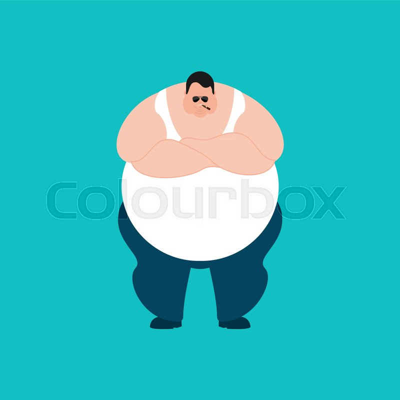 fat strong cool serious stout guy smoking cigar emoji big man