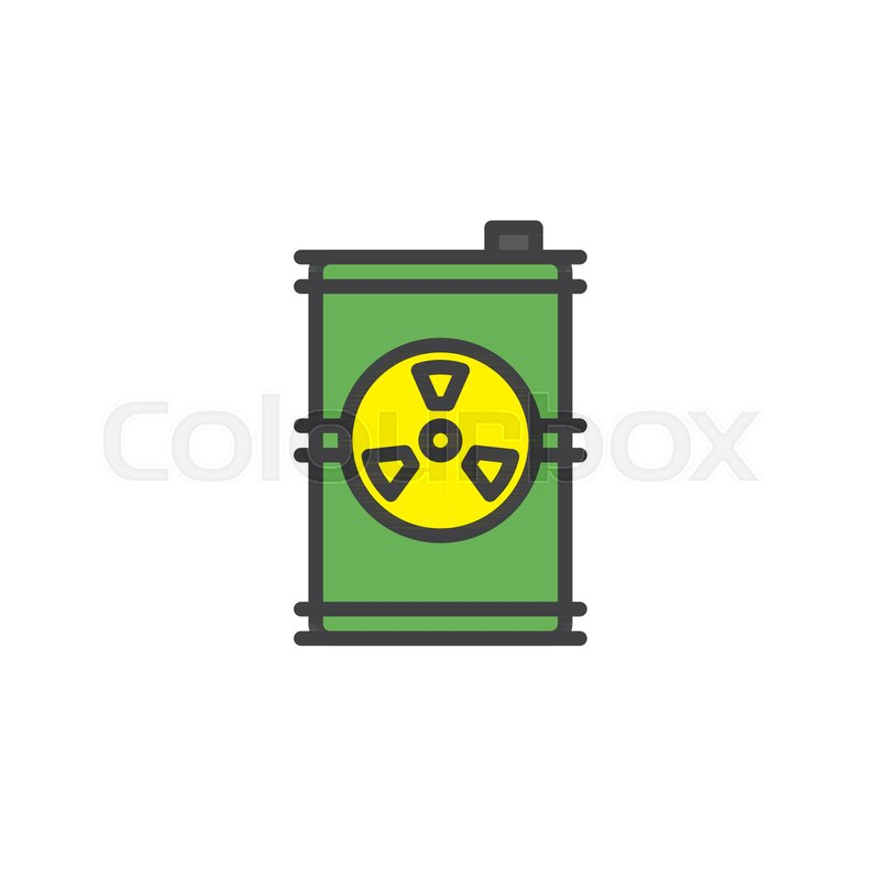 Toxic Barrel Filled Outline Icon Line Vector Sign Linear Colorful
