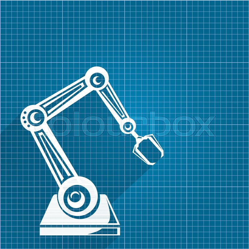 Vector robotic arm symbol on blueprint paper background robot hand vector robotic arm symbol on blueprint paper background robot hand technology background design template stock vector colourbox malvernweather Gallery