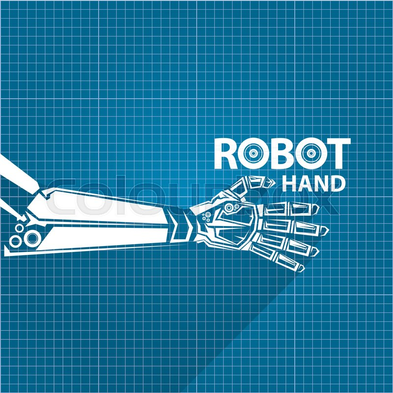 Vector robotic arm symbol on blueprint paper background robot vector robotic arm symbol on blueprint paper background robot hand technology background design template stock vector colourbox malvernweather Images