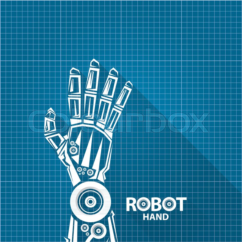 Vector robotic arm symbol on blueprint paper background robot hand vector robotic arm symbol on blueprint paper background robot hand technology background design template stock vector colourbox malvernweather Image collections