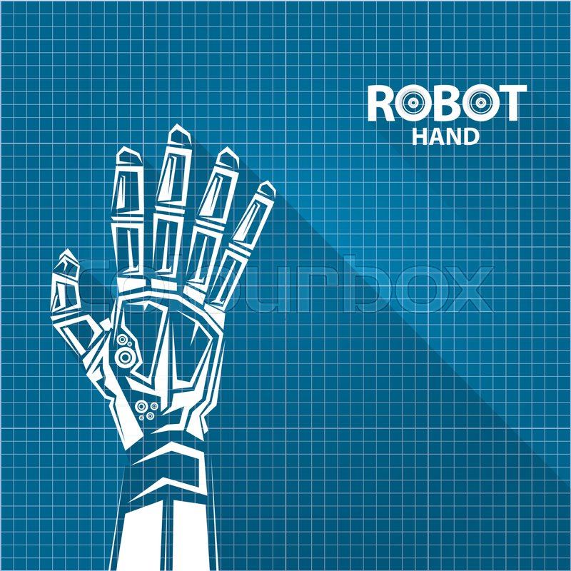 Vector robotic arm symbol on blueprint paper background robot hand vector robotic arm symbol on blueprint paper background robot hand technology background design template stock vector colourbox malvernweather Choice Image