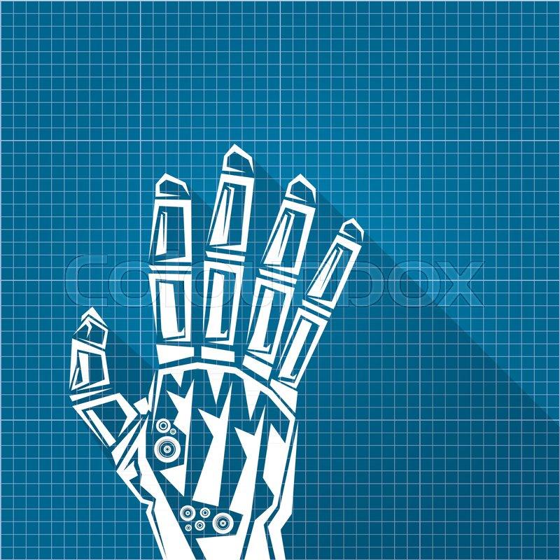 Vector robotic arm symbol on blueprint paper background robot hand stock vector of vector robotic arm symbol on blueprint paper background robot hand malvernweather Gallery